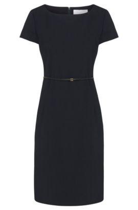 Stretch wool shift dress with tailored waist by BOSS Womenswear Fundamentals, Dark Blue