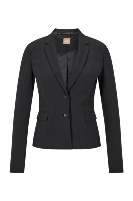Regular-fit jacket in Italian stretch wool, Black