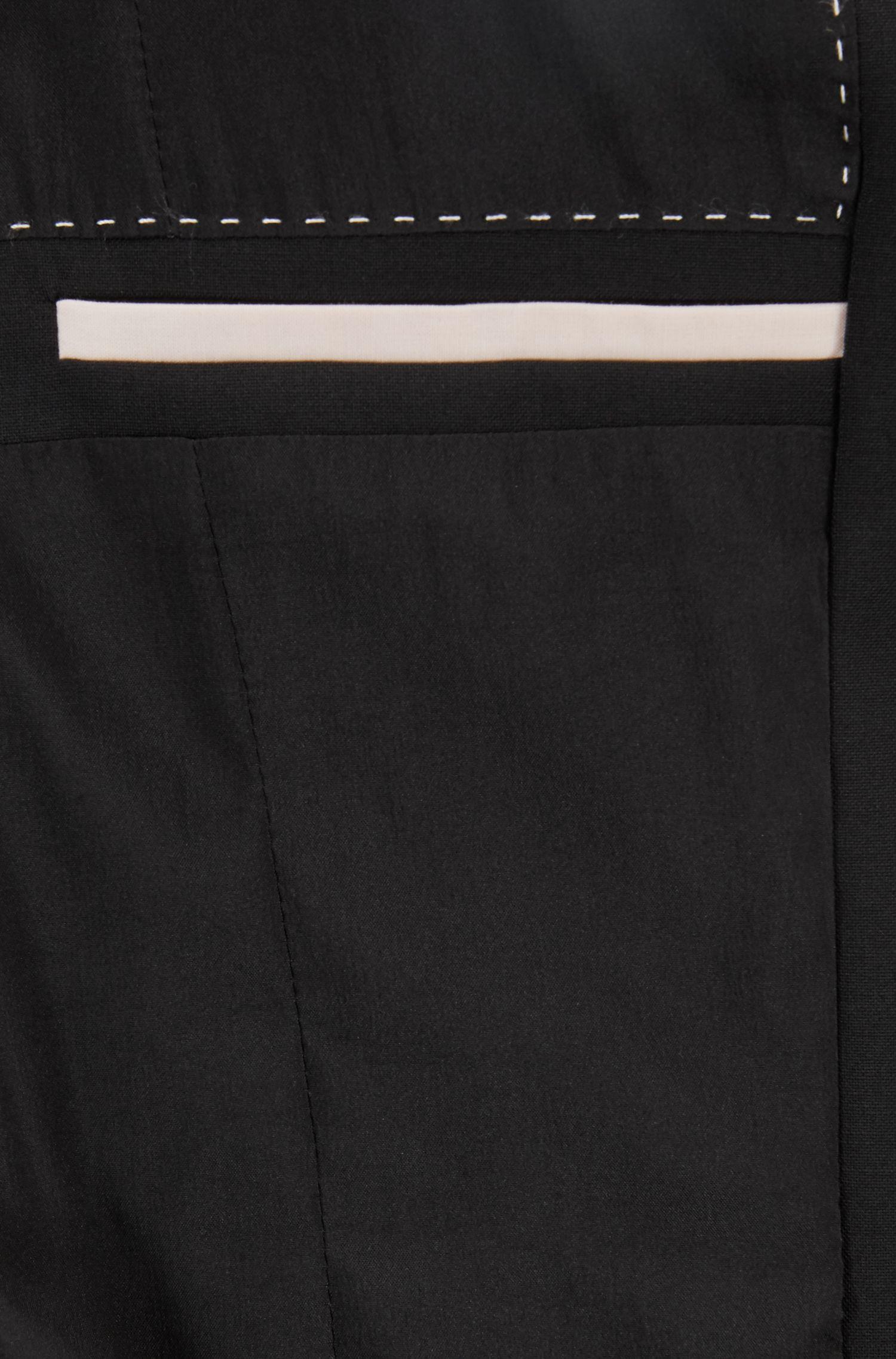 Colbert van wol met stretch met smalle revers, Zwart