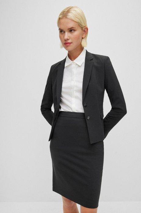 Veste Regular Fit en laine stretch italienne, Noir