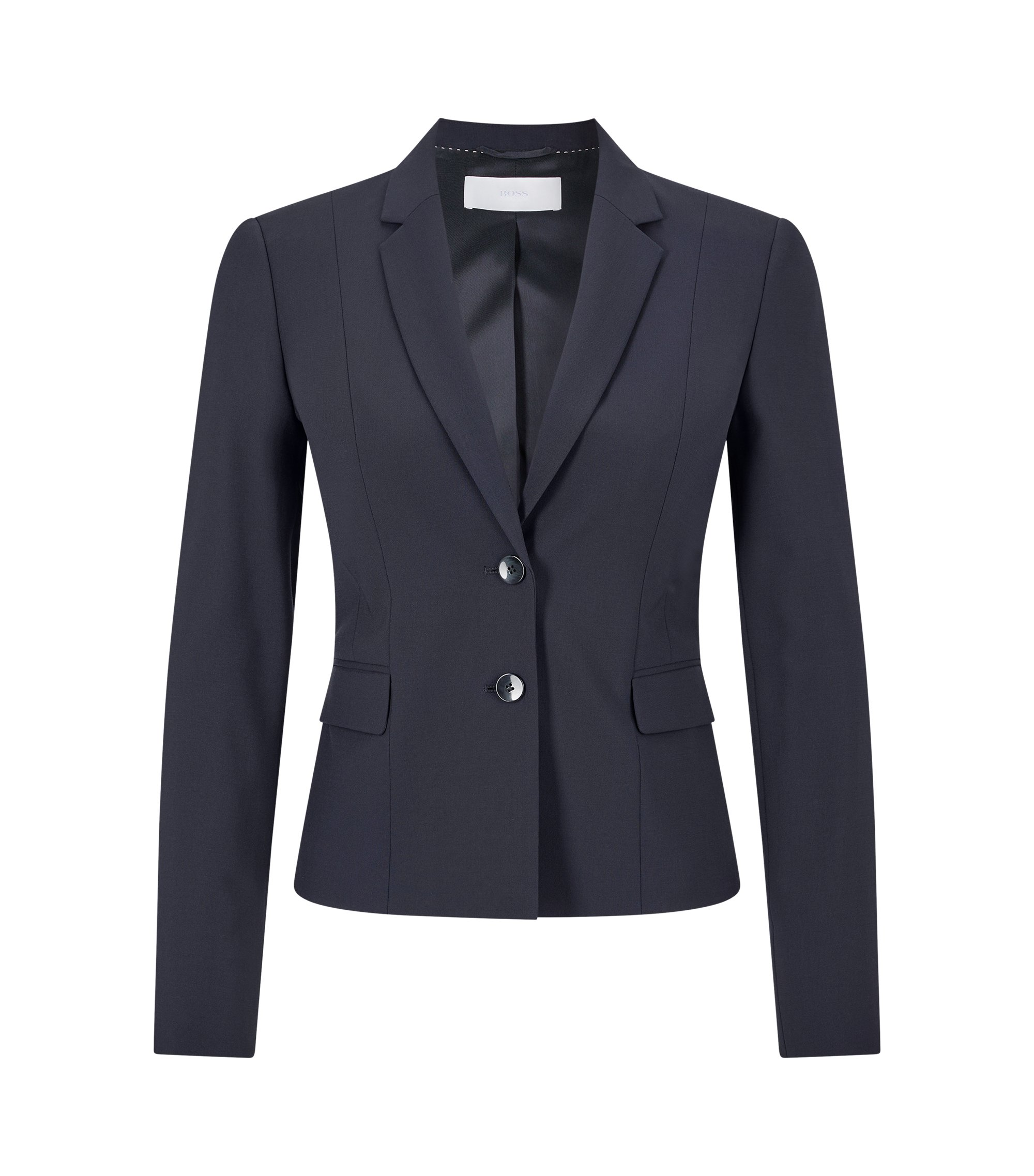 Stretch wool jacket with narrow lapels , Dark Blue
