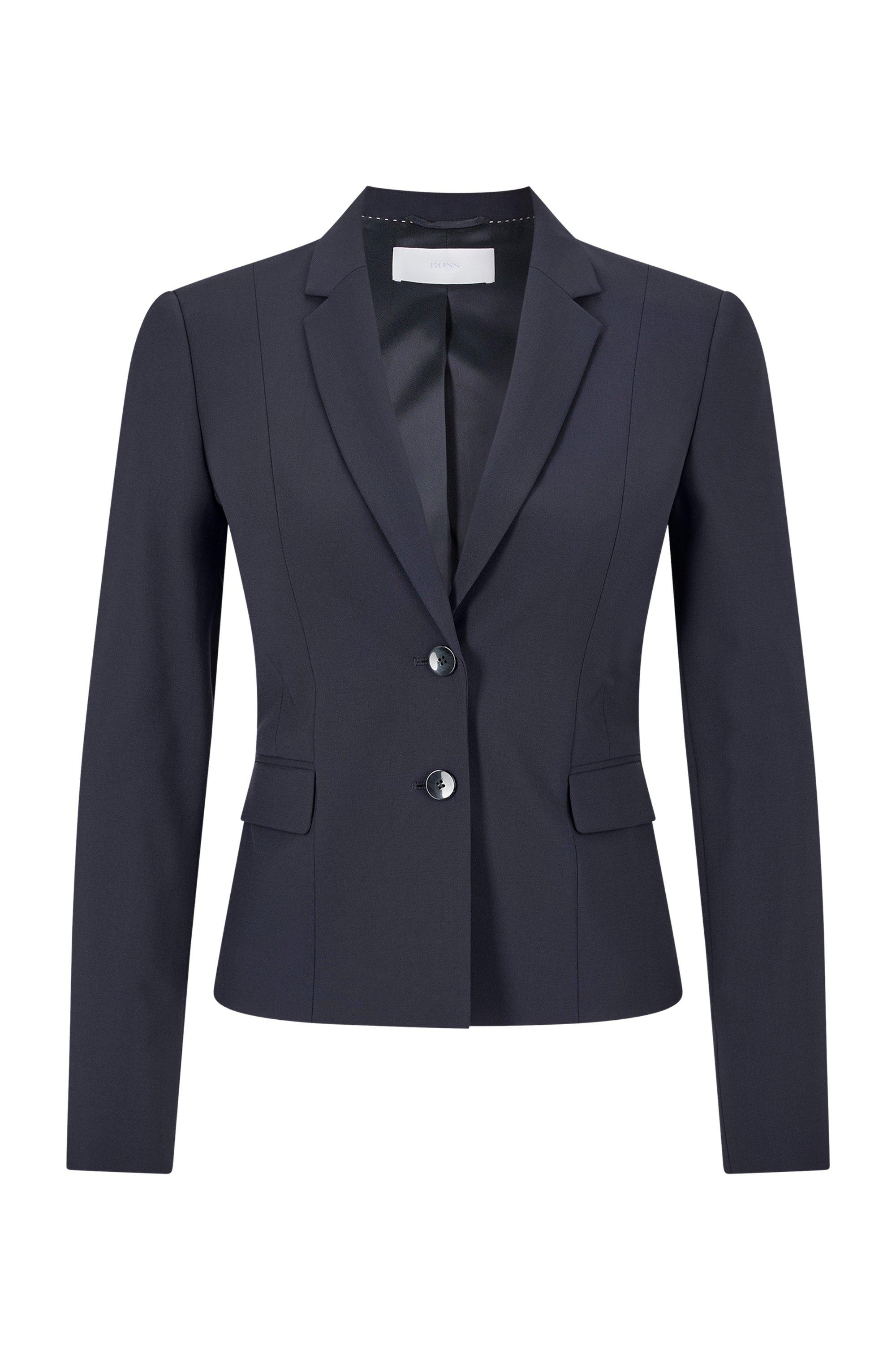 Giacca regular fit in lana elasticizzata italiana, Blu scuro