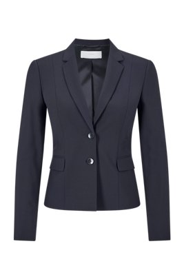 Americana regular fit en lana elástica italiana, Azul oscuro