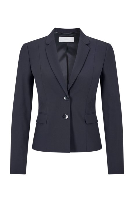 Veste Regular Fit en laine stretch italienne, Bleu foncé