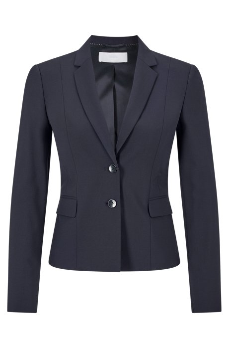Stretch wool jacket with narrow lapels , Dark Blue