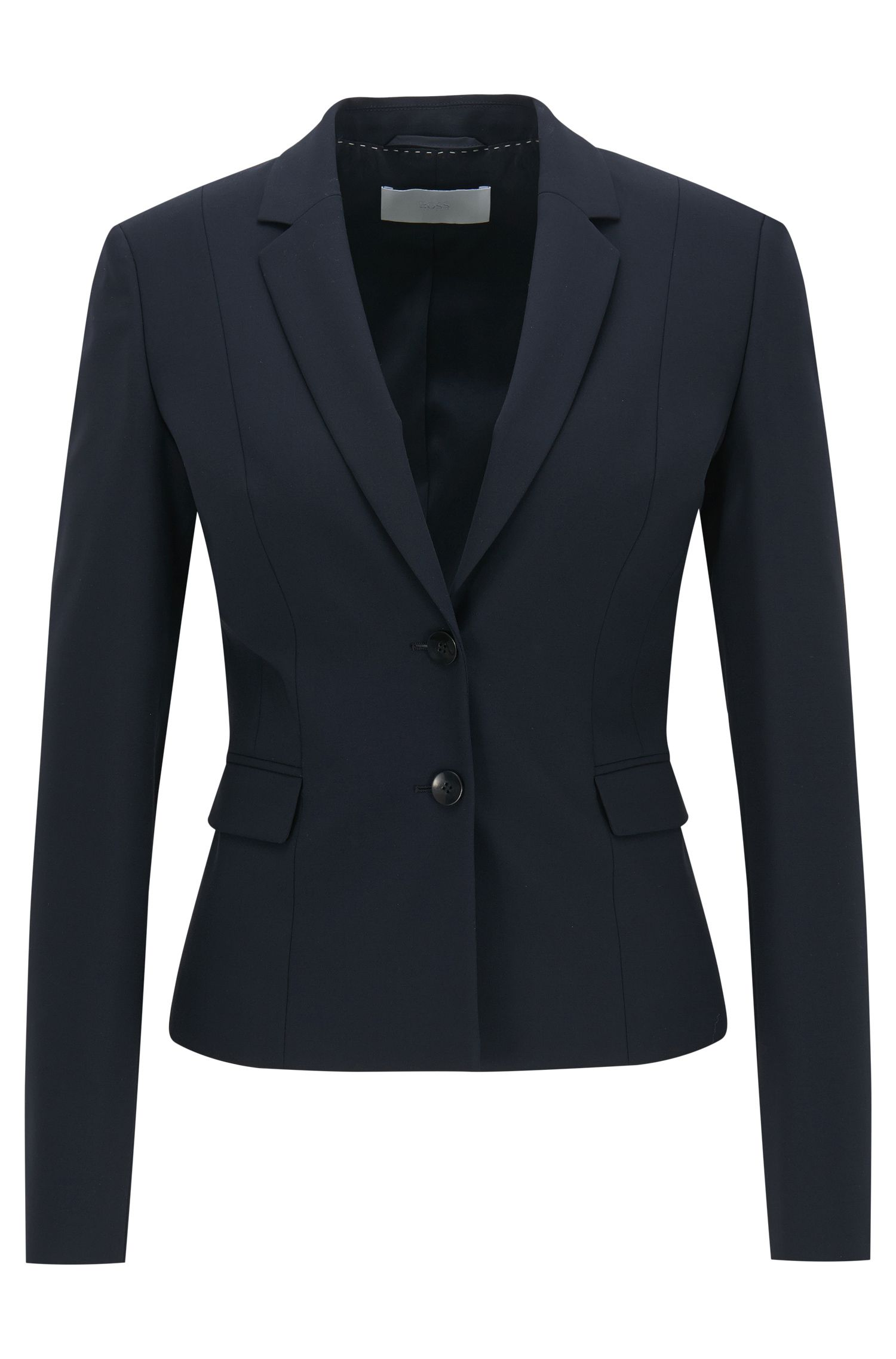 Stretch wool jacket with narrow lapels