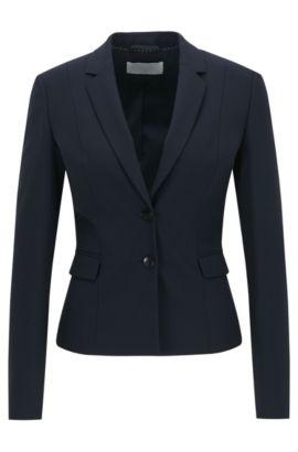 Giacca in lana elasticizzata con revers stretti , Blu scuro