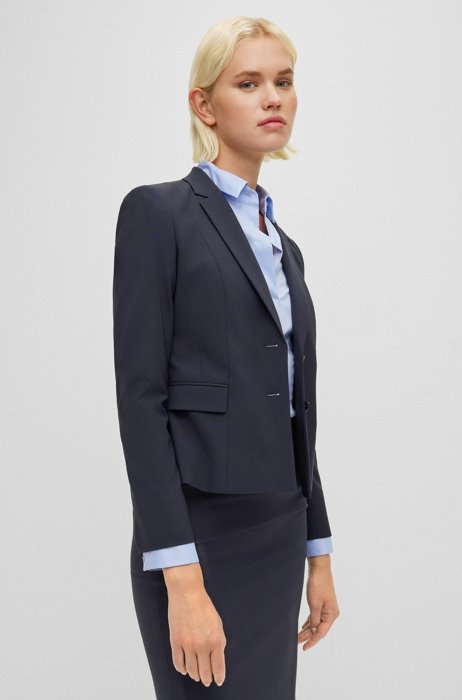 Regular-fit jacket in Italian stretch wool, Dark Blue
