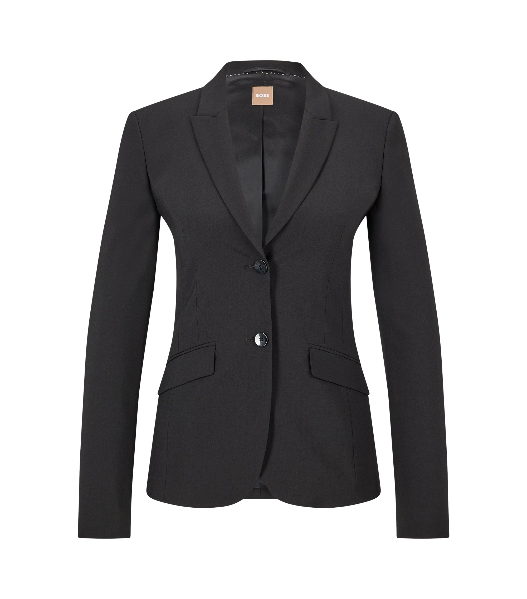 Stretch wool blazer with peak lapels, Black