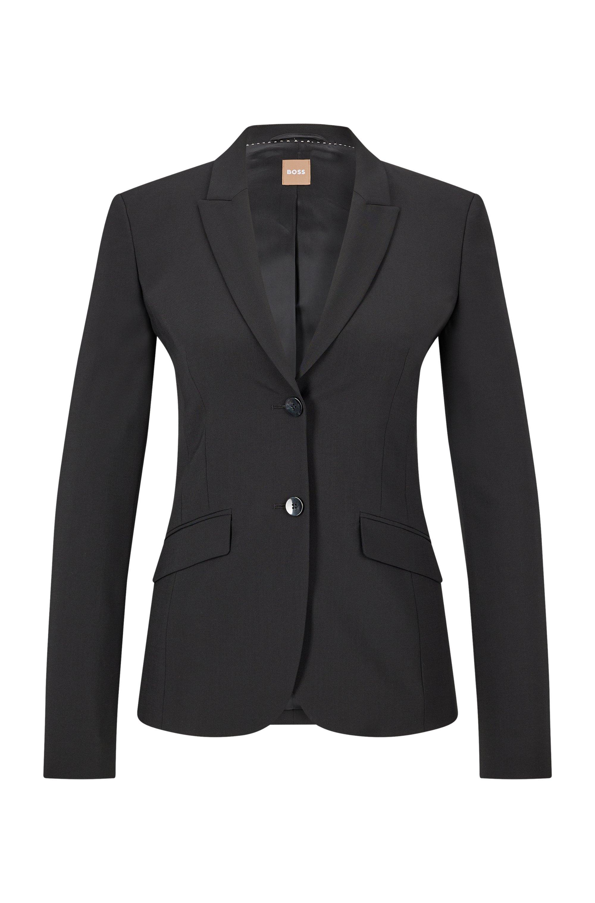 Veste Regular Fit en laine vierge italienne stretch, Noir