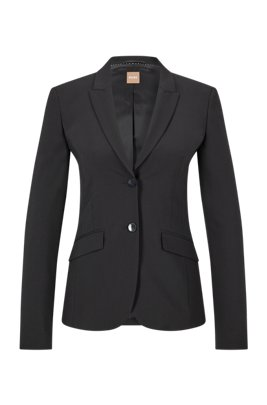 Veste Regular Fit en laine vierge italienne stretch, Noir