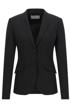 Blazer en laine stretch à revers en pointe BOSS Femme Fundamentals, Noir