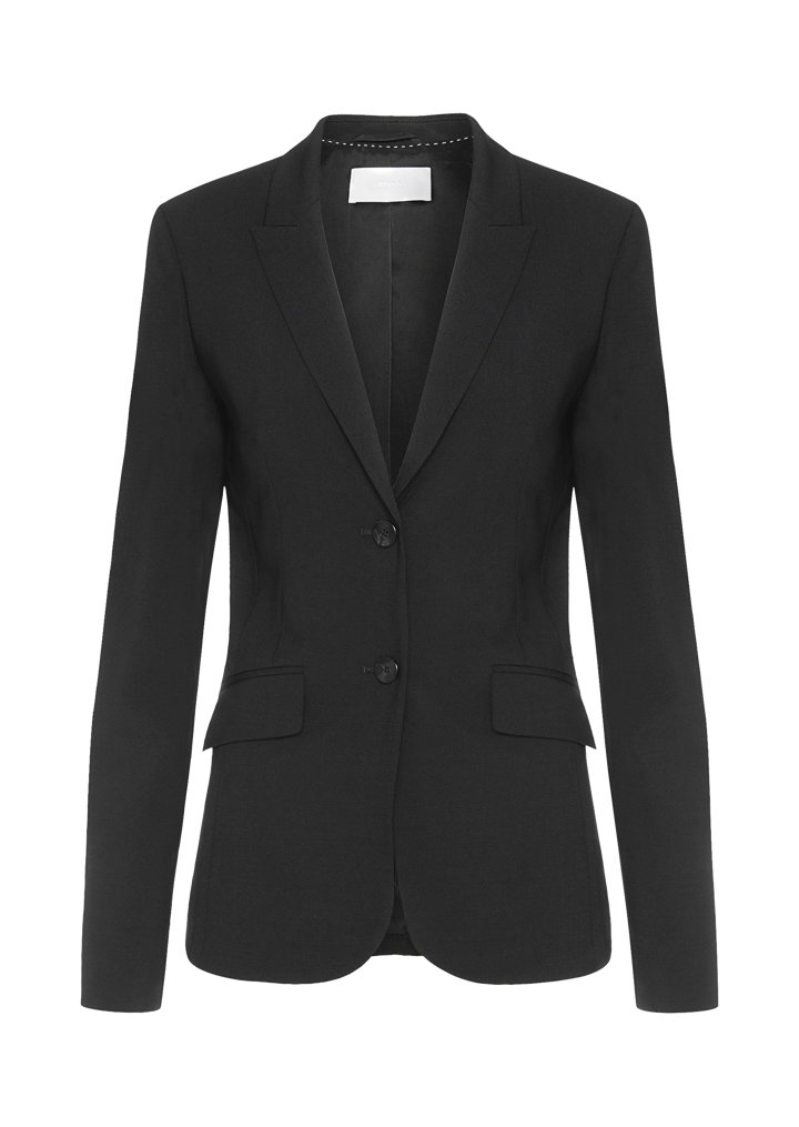 Stretch wool blazer with peak lapels