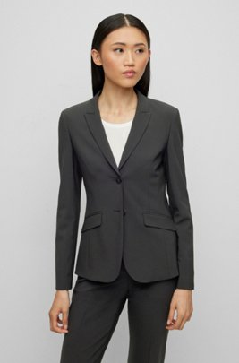 Regular-fit jacket in Italian stretch virgin wool, Black