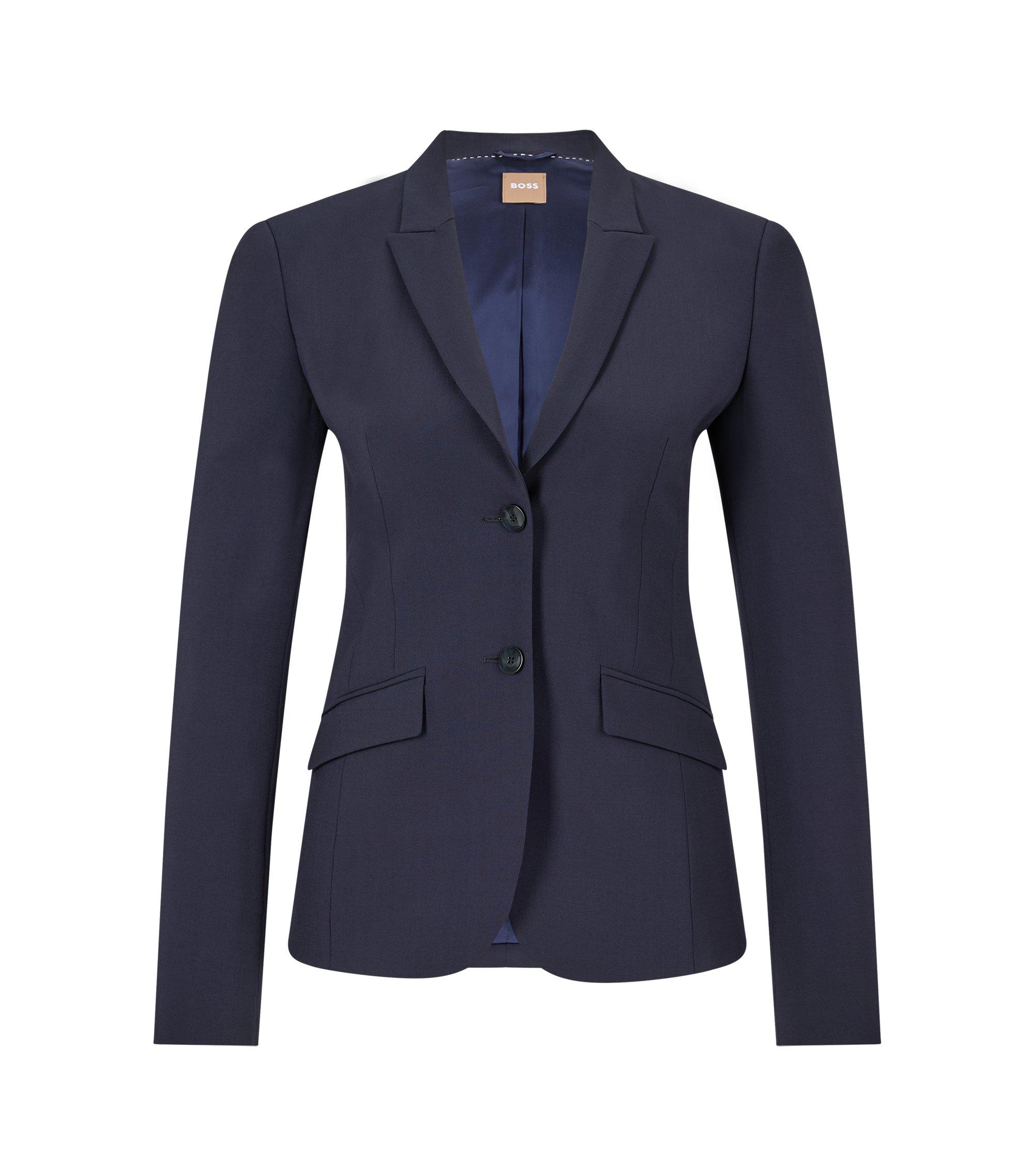 Stretch wool blazer with peak lapels, Dark Blue