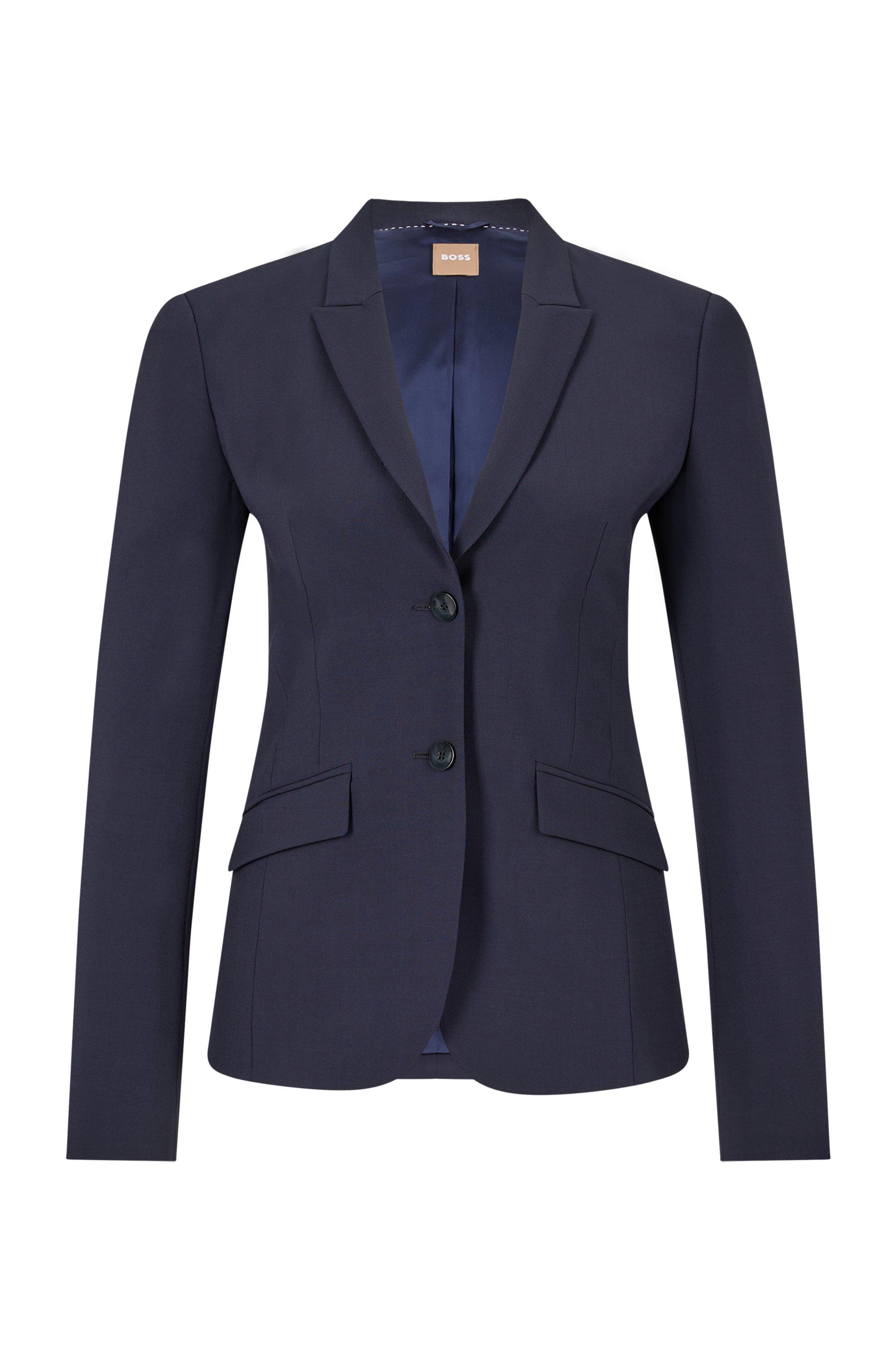 Veste Regular Fit en laine vierge italienne stretch, Bleu foncé