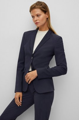 Regular-fit jacket in Italian stretch virgin wool, Dark Blue