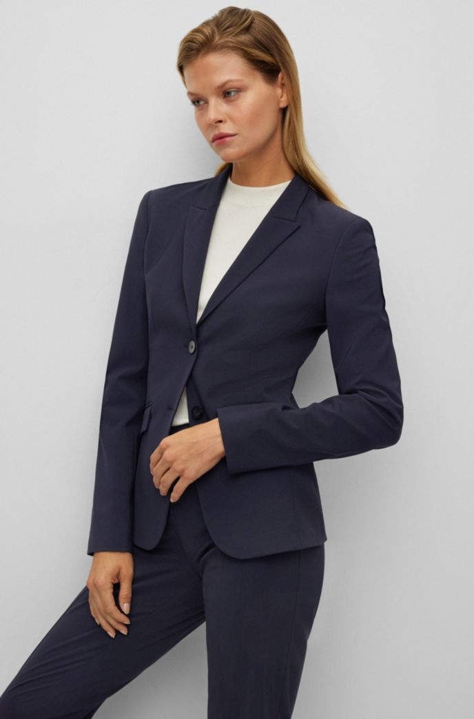 Regular-fit jacket in Italian stretch virgin wool