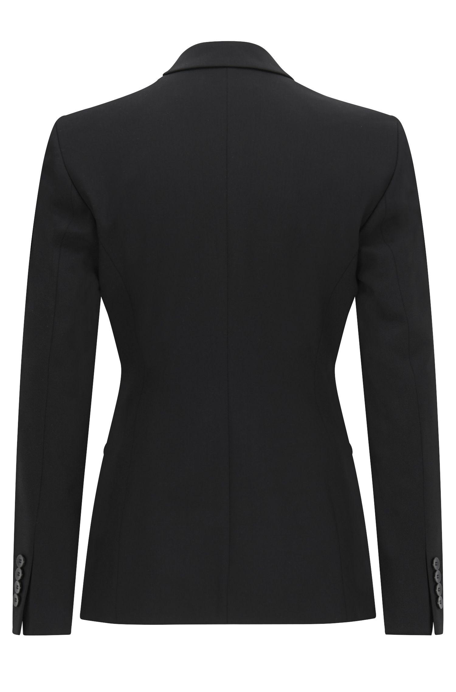Blazer in lana elasticizzata con revers curvi