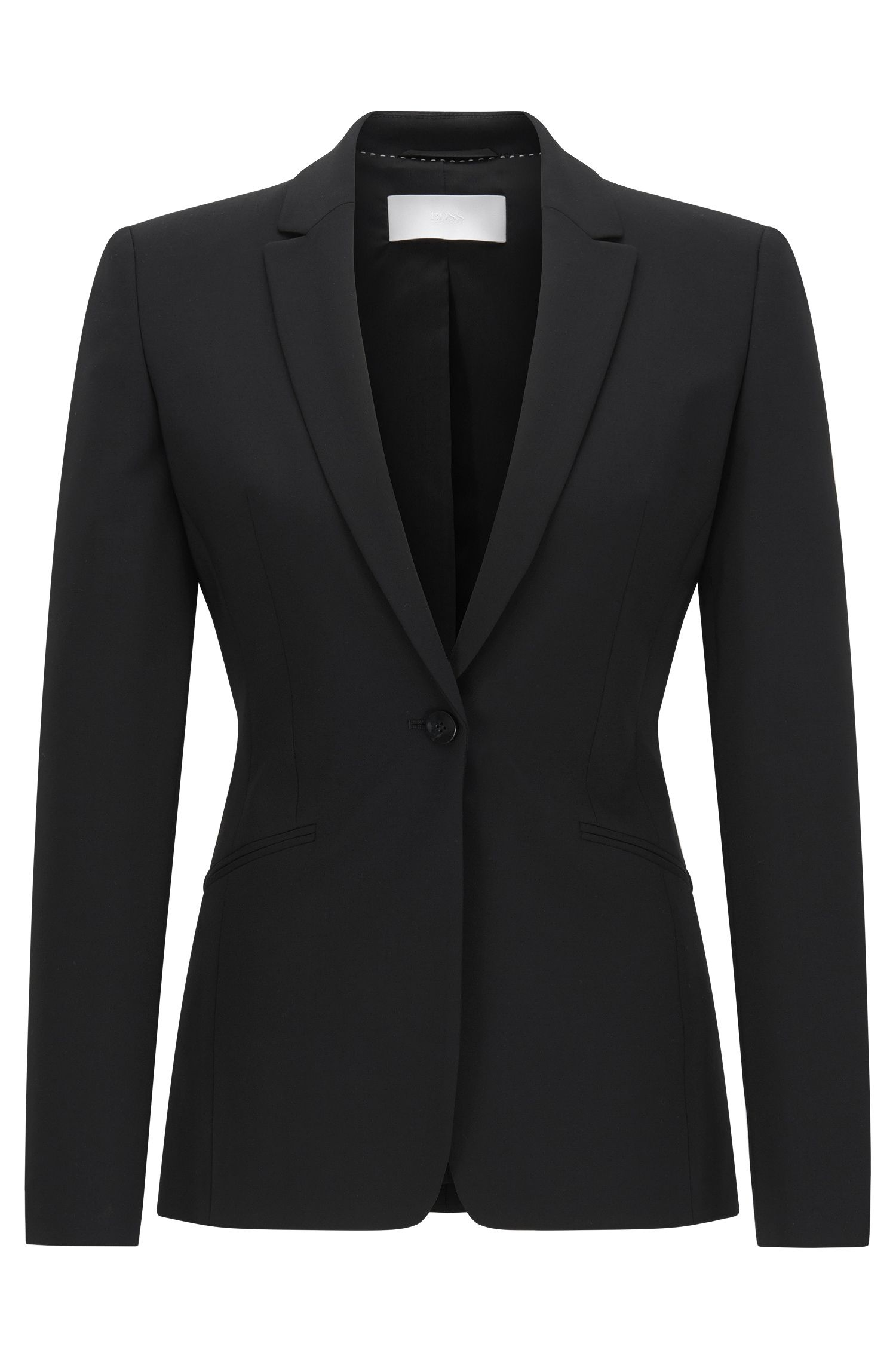 Blazer en laine stretch à revers arrondis BOSS Femme Fundamentals