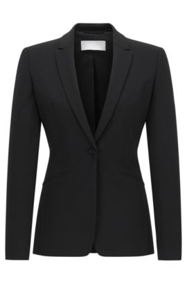 Blazer en laine stretch à revers arrondis BOSS Femme Fundamentals, Noir