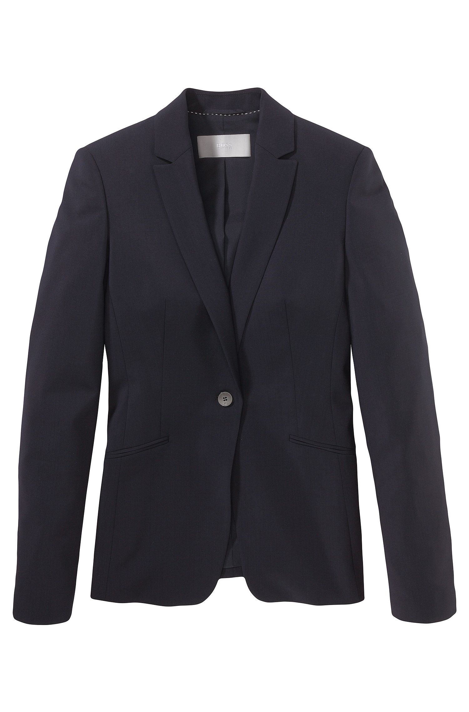 Blazer en laine stretch à revers arrondis