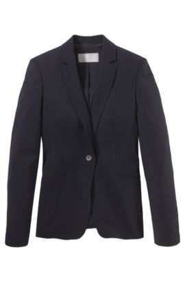 Stretch wool blazer with curved lapels , Dark Blue