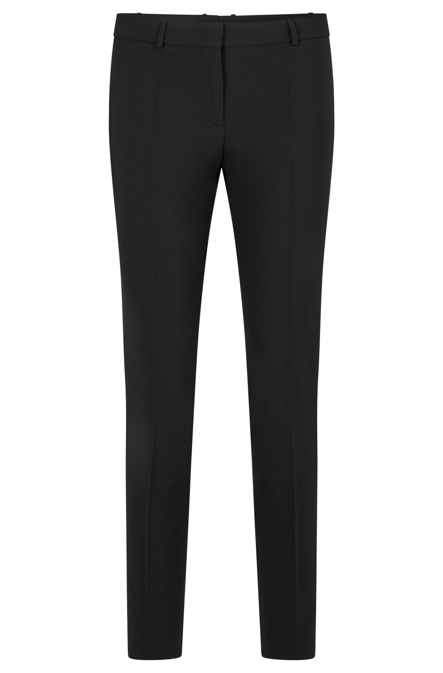 Slim-fit cropped trousers, Black