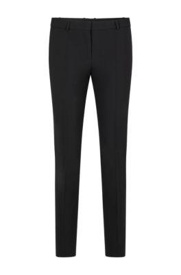 Pantalon court Regular Fit en laine vierge italienne stretch, Noir