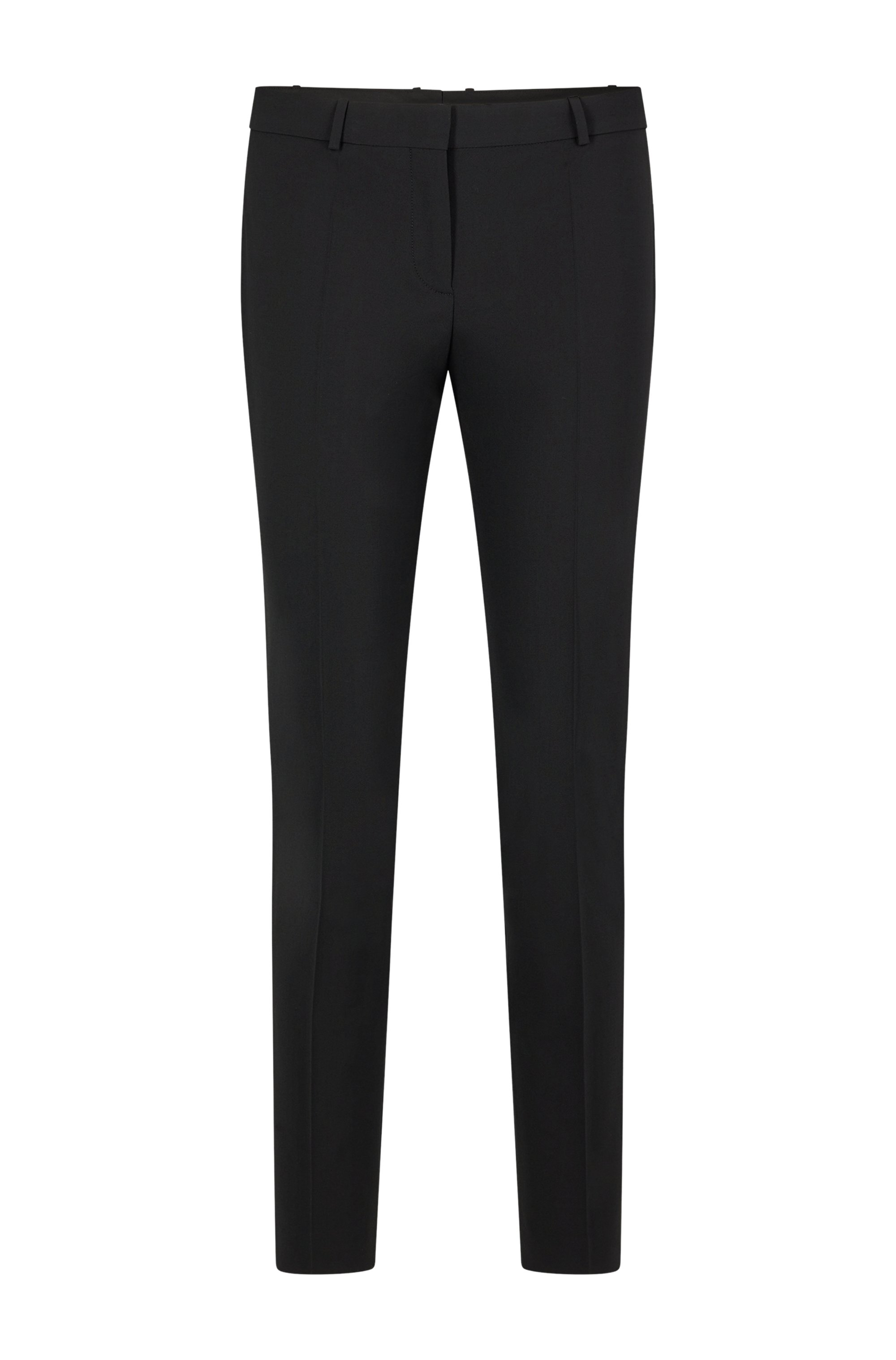 Cropped regular-fit trousers in Italian stretch virgin wool, Black