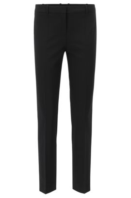 Slim-Fit Hose in Cropped-Länge von BOSS Womenswear Fundamentals, Schwarz