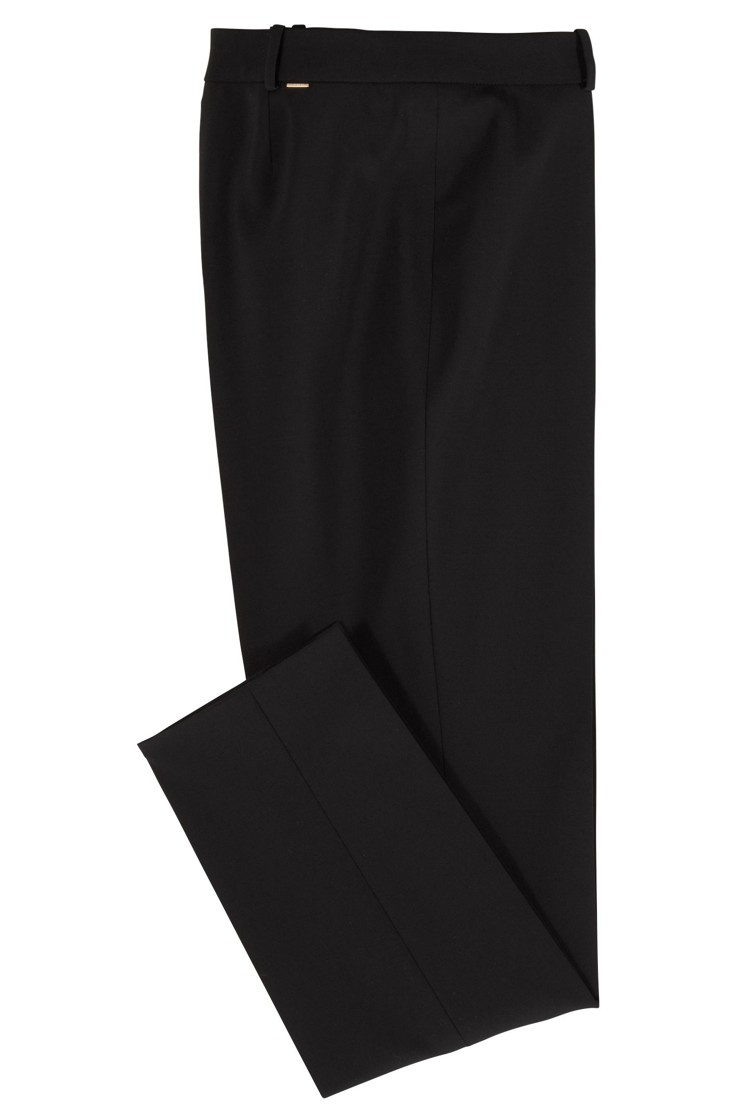 Slim-Fit Hose in Cropped-Länge, Schwarz