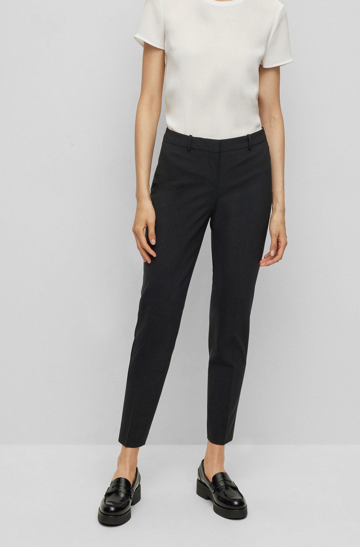 Cropped regular-fit trousers in Italian stretch virgin wool, Black