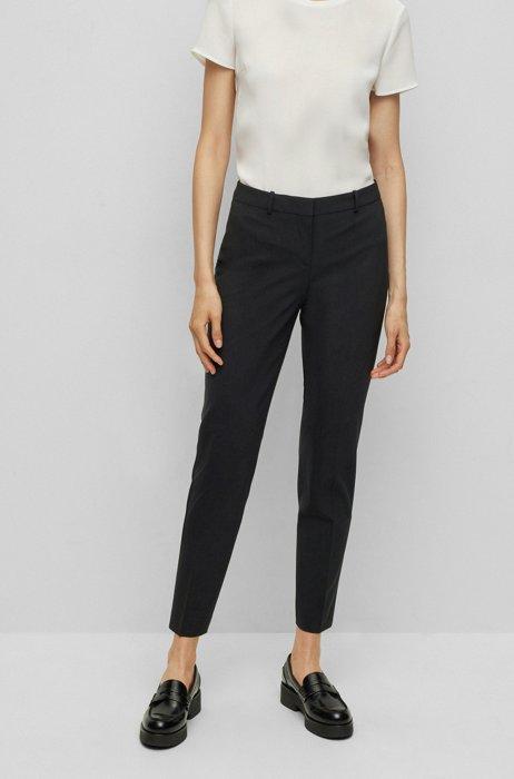 Pantaloni regular fit alla caviglia in lana vergine elasticizzata italiana, Nero