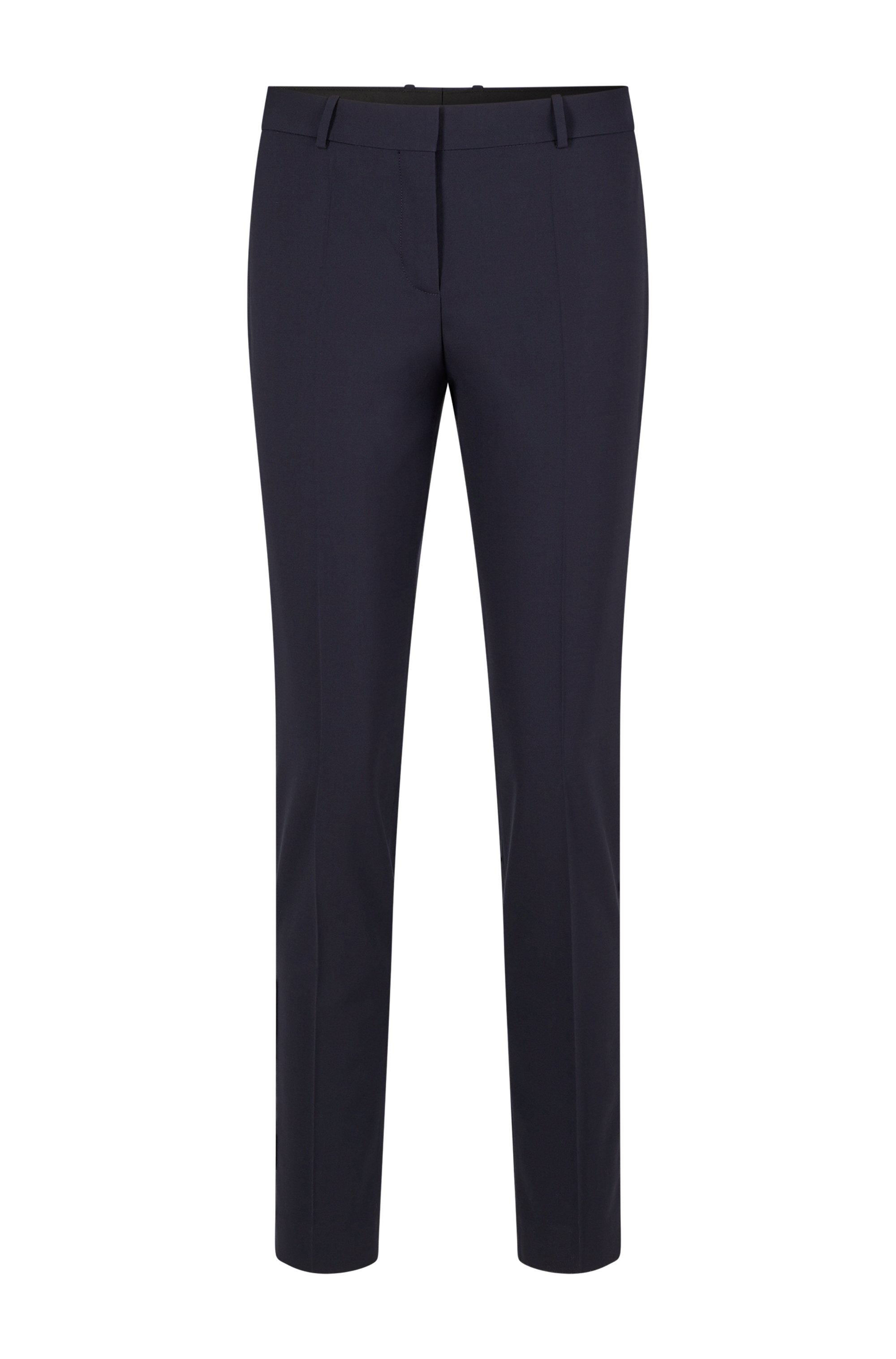 Pantalones tobilleros regular fit en lana virgen italiana con elástico, Azul oscuro