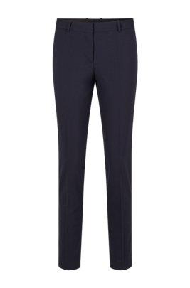 Pantalon court Regular Fit en laine vierge italienne stretch, Bleu foncé