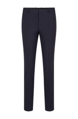 Regular-Fit Hose aus italienischer Stretch-Schurwolle in Cropped-Länge, Dunkelblau