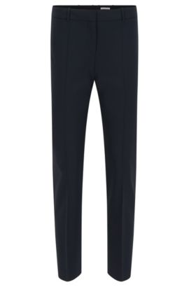 Slim-fit cropped trousers by BOSS Womenswear Fundamentals, Dark Blue