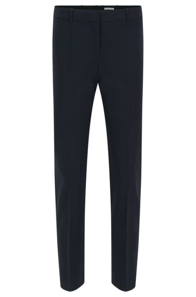 Regular-Fit Hose aus italienischer Stretch-Schurwolle in Cropped-Länge