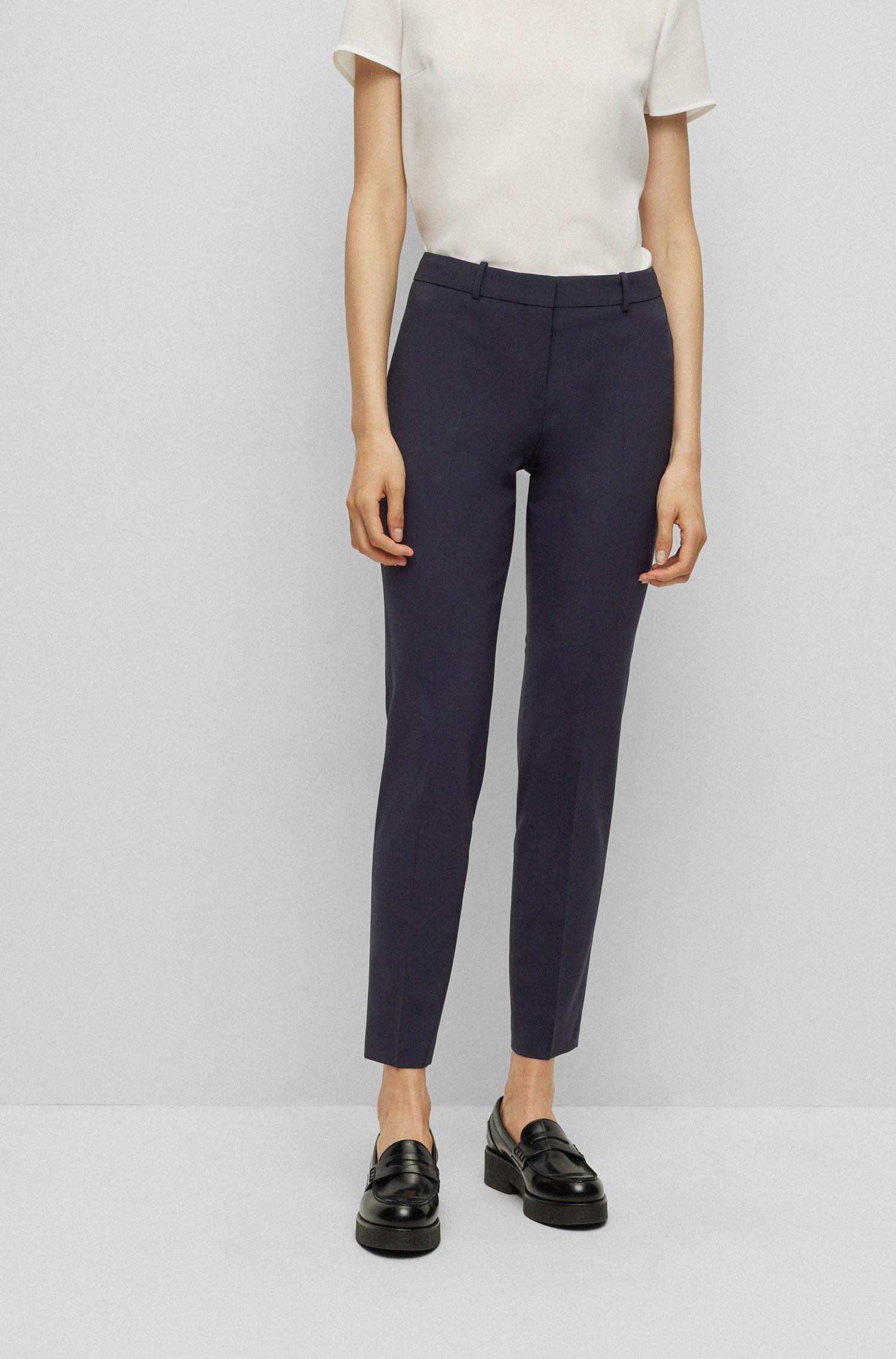 Cropped regular-fit trousers in Italian stretch virgin wool, Dark Blue