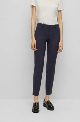 Cropped regular-fit trousers in Italian stretch virgin wool, Dark Blue