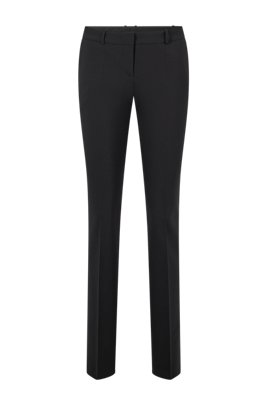 Pantalon Regular Fit en laine vierge italienne stretch, Noir