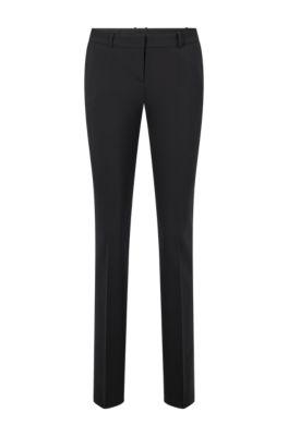 Pantalon Regular Fit en laine vierge italienne stretch, Noir