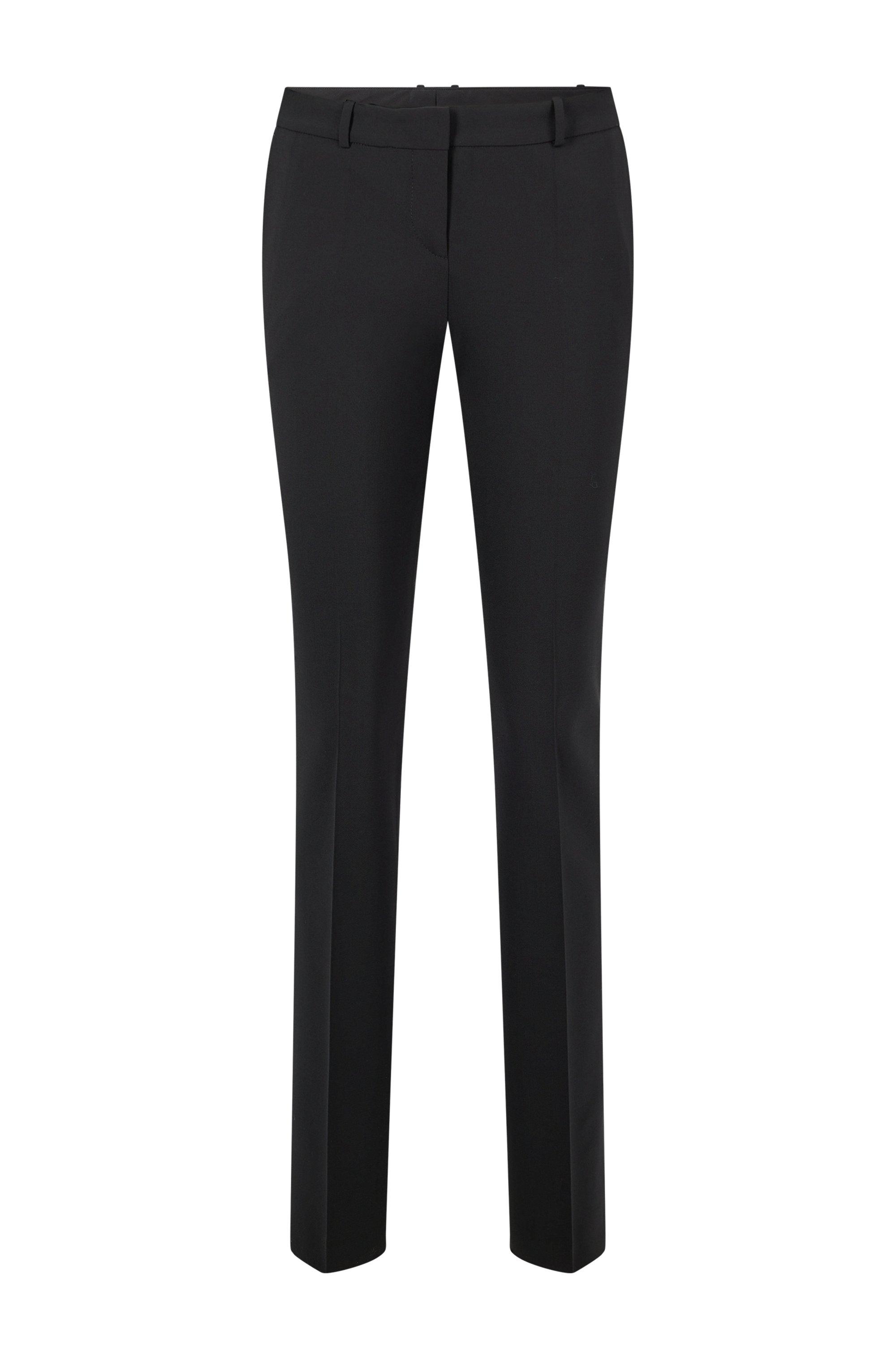 Regular-Fit Hose aus italienischer Stretch-Schurwolle, Schwarz
