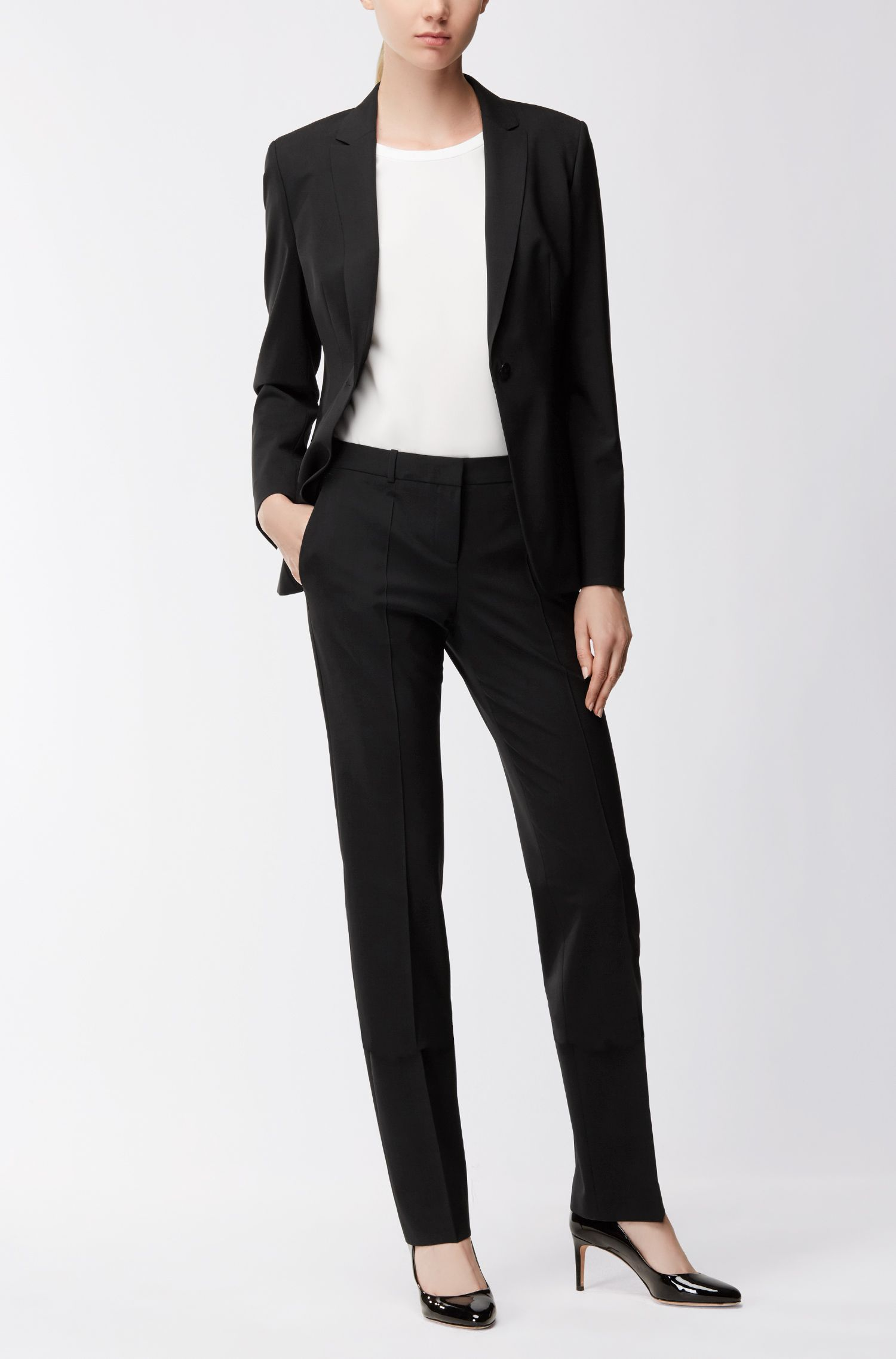 Pantalon business coupe droite en laine stretch , Noir