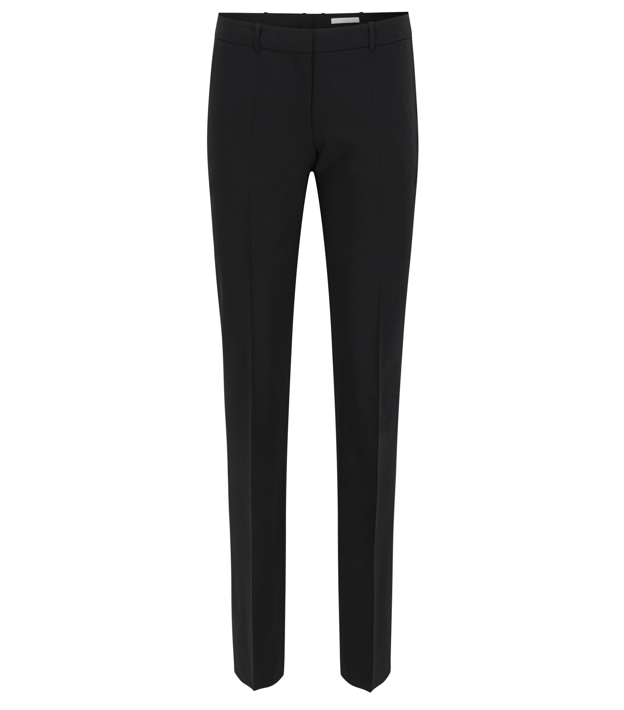 Straight-leg business trousers in stretch wool , Black