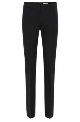 Pantaloni business straight cut in lana elasticizzata , Nero