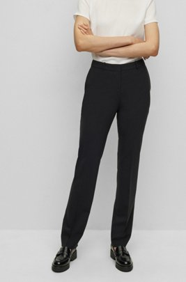 Regular-fit trousers in Italian stretch virgin wool, Black
