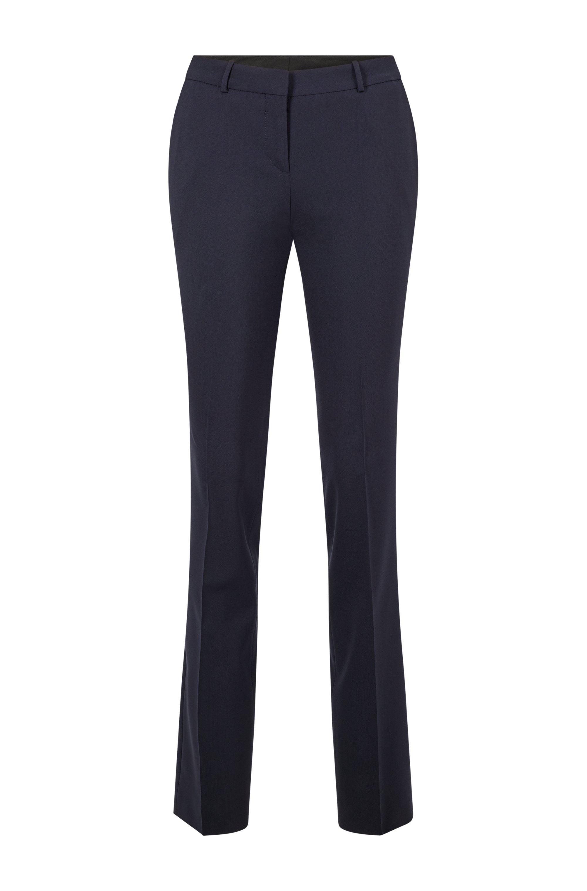 Pantalones regular fit en lana virgen elástica italiana, Azul oscuro