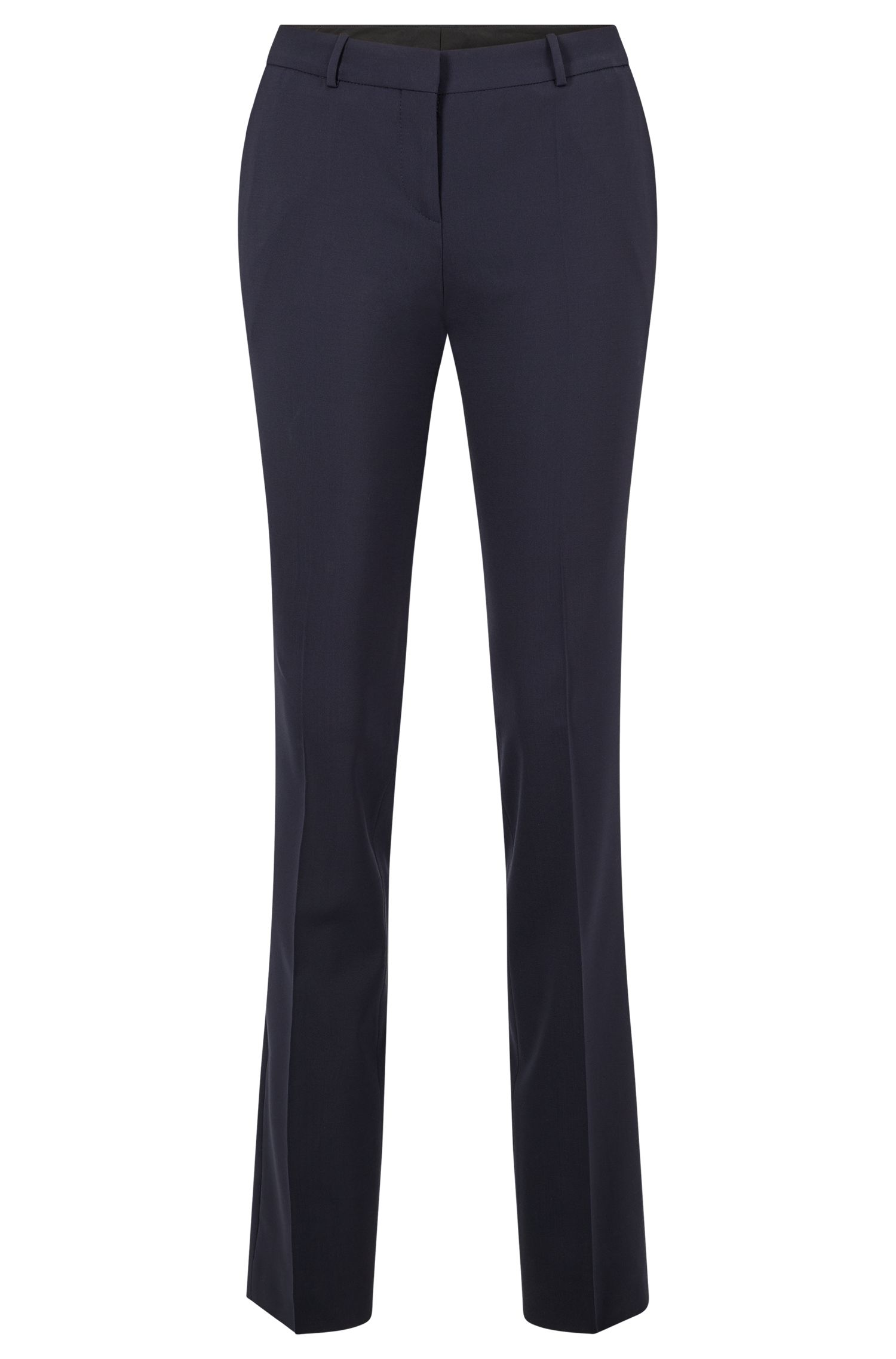 Straight-leg business trousers in stretch wool , Dark Blue